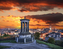 Edinburgh against sunset with Calton Hill in Scotland Stock Photography