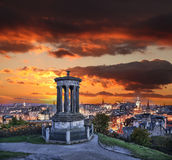 Edinburgh against sunset with Calton Hill in Scotland Stock Image