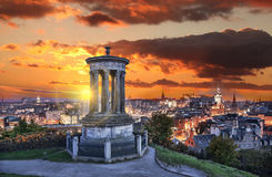 Edinburgh against sunset with Calton Hill in Scotland Royalty Free Stock Photo