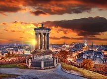 Edinburgh against sunset with Calton Hill in Scotland Stock Photo