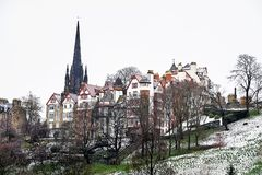 Edinburgh, Ansicht der Stadt, einiger Monumente und des Schlosses, Stockfotos