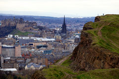 Edinburgh (from Arthur's Seat). View of Edinburgh, Scotland, UK, from Arthur's Seat, the hill stock photography