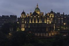 Edinburgh Bank of Scotland Palace night view  in a rainy evening, Edinburgh Royalty Free Stock Photos