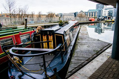 Edinburgh canal boats. Colourful canal boats moored up in Edinburgh city Royalty Free Stock Image