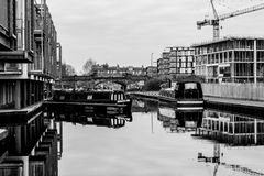 Edinburgh canal boats. Colourful canal boats moored up in Edinburgh city Stock Photos