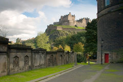 Edinburgh Castle. View of Edinburgh castle in Scotland on a bright summers day royalty free stock images