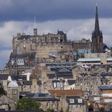 Edinburgh Castle. Stands proudly above the old town Stock Photography