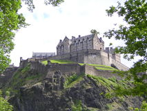 Edinburgh castle. Upon a rock face seen from princess street royalty free stock photo