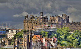 Edinburgh Castle. And the military Tattoo seen from Calton Hill stock photos
