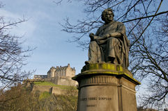 Edinburgh Castle. The Edinburgh Castle and statue Royalty Free Stock Photo