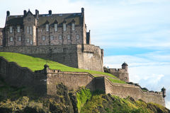 The Edinburgh Castle. Lit by evening sun Royalty Free Stock Images