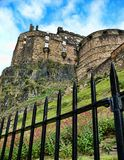 Edinburgh Castle. Fence and Edinburgh Castle, Edinburgh, Scotland royalty free stock photography
