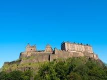 Edinburgh Castle. Against a blue sky background. One week before the start of the 70th Edinburgh Festival. Best time of year to visit Edinburgh Stock Photos