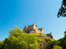 Edinburgh Castle. Against a blue sky background. One week before the start of the 70th Edinburgh Festival. Best time of year to visit Edinburgh Royalty Free Stock Photo