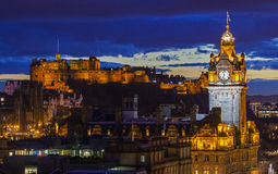 Edinburgh Castle and the Balmoral Hotel in Scotland Royalty Free Stock Images