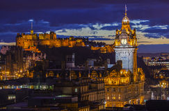 Edinburgh Castle and the Balmoral Hotel in Scotland Stock Images