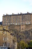 Edinburgh castle building on the hill above the Old Town. Building in the Edinburgh castle complex on the hill above the historic district in Edinburgh, Scotland Royalty Free Stock Images