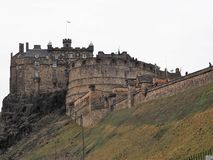 Edinburgh Castle on Castle Rock. Edinburgh Castle sits on Castle Rock in the Scottish Capital City of Edinburgh.  The Caste is a major tourist attraction and royalty free stock photos