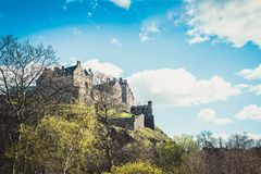 Edinburgh Castle on Castle Rock in Edinburgh, Scotland, UK. During nice Spring Sunny Day with clear Blue Sky Royalty Free Stock Images
