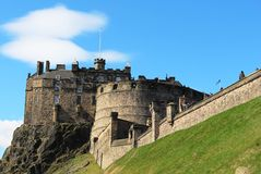 Edinburgh Castle, Castle Rock, Edinburgh, Scotland. View up to Edinburgh Castle on Castle Rock in Edinburgh, Scotland taken looking West from the steps of Castle Royalty Free Stock Photography