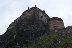 Edinburgh castle cliff face Royalty Free Stock Photo