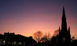 Edinburgh castle at dusk Stock Images