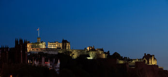Edinburgh castle at dusk Stock Photos