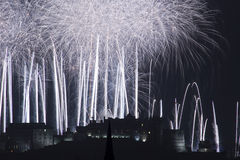 Edinburgh Castle Fireworks Royalty Free Stock Photography