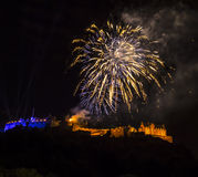 Edinburgh Castle. Fireworks during Military tattoo royalty free stock photography