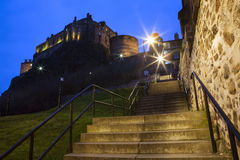 Edinburgh Castle and Granny's Green Steps Stock Photography