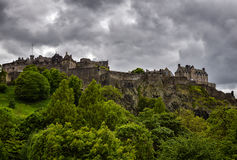 Edinburgh Castle. With moody clouds overhead Stock Images
