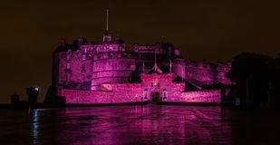Edinburgh Castle at Night. A picture of the purple lights on display at night in the Edinburgh Castle royalty free stock photography