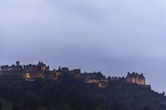 Edinburgh Castle night view  in a rainy evening Royalty Free Stock Photos