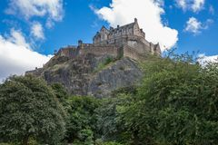 Edinburgh Castle over hill Stock Image
