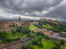 Edinburgh Castle panorama. Panoramic view of the roof of the Edinburgh Castle, Scotland, Great Britain Stock Images