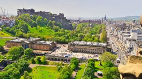 Edinburgh Castle and Princes Street, Scotland, from Calton Hill stock images