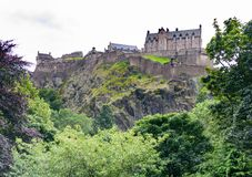 Edinburgh Castle and the Princess Gardens. Scotland royalty free stock photography