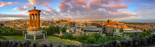 Edinburgh Castle, Scotland. Panoramic view of Edinburgh castle from Calton Hill, Edinburgh, Scotland Royalty Free Stock Photos