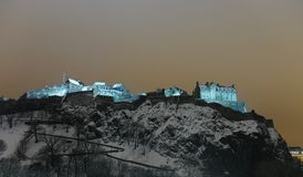 Edinburgh Castle, Scotland, UK, at night in snow Stock Photography