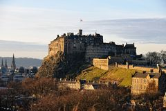 Edinburgh Castle, Scotland, in winter light. Edinburgh Castle, Scotland, from the south east, in the late afternoon, the facade catching the golden winter light stock images