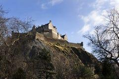 Edinburgh castle. Seen from princes street garden on a sunny day stock photos