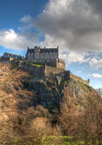 Edinburgh Castle. Seen from Princess Street, Edinburgh, Scotland, UK stock photography