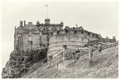 Edinburgh Castle sepia postcard Royalty Free Stock Image
