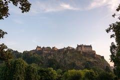 Edinburgh castle during sunset catching the last light Stock Photo