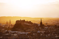 Edinburgh castle at sunset, Scotland. Stock Images