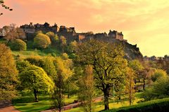Edinburgh Castle sunset Stock Photos