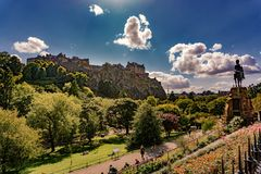 Edinburgh Castle View, Scotland UK. Traveling in Europe stock photo