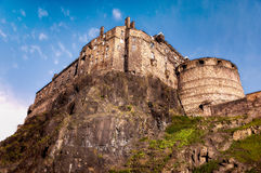 Edinburgh castle. Walls of medieval Edinburgh castle on the rock in sunny autumn day Stock Photo