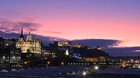 Edinburgh Christmas panorama royalty free stock images