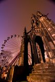 Edinburgh Christmas Skyline. Big Wheel Funfair and Scott Monument on Princes St in Edinburgh at Christmas Royalty Free Stock Photo